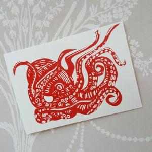 Squiddie postcard on white