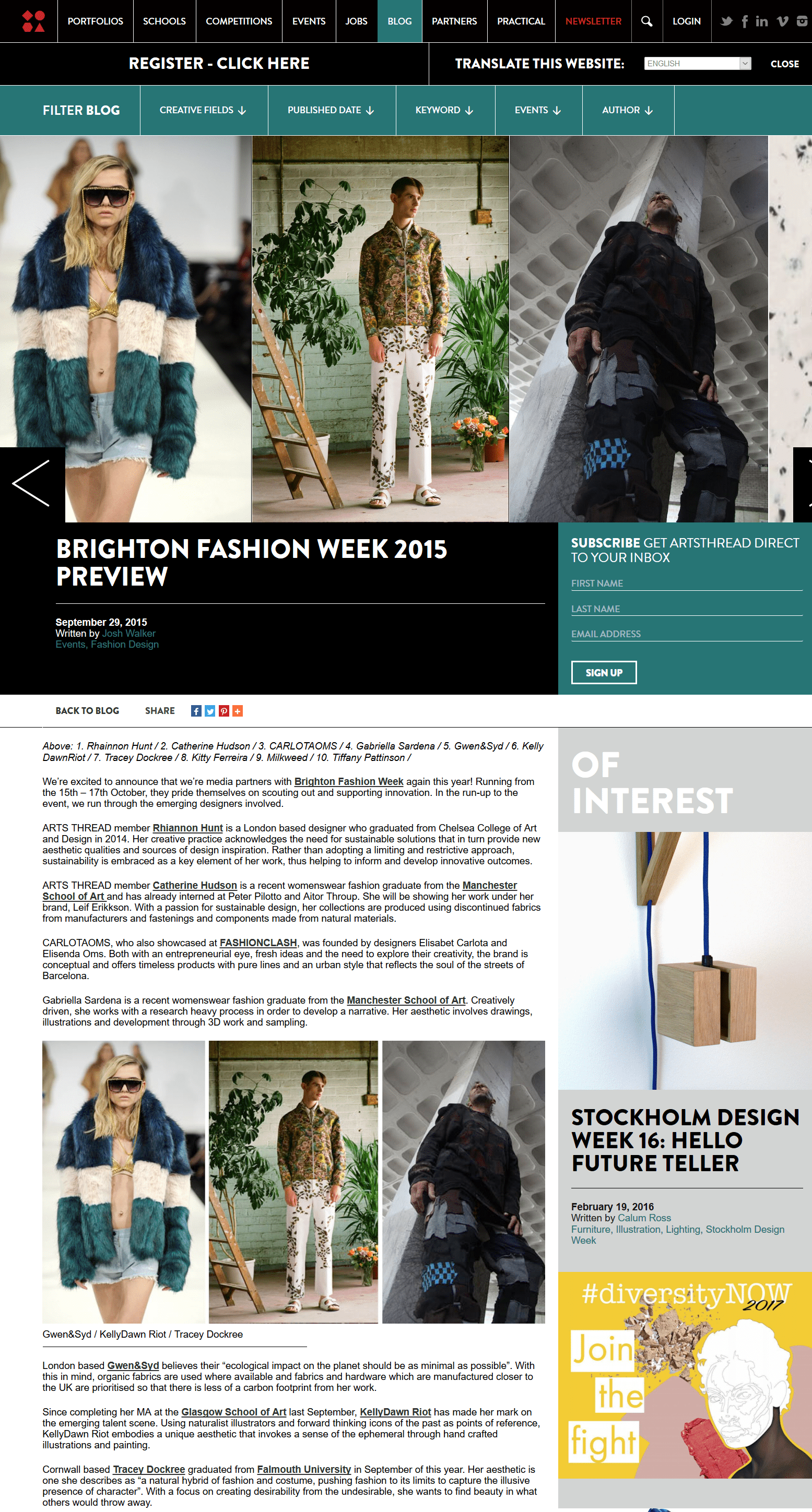 Screenshot of the Arts Thread arcile for Brighton Fashion Week