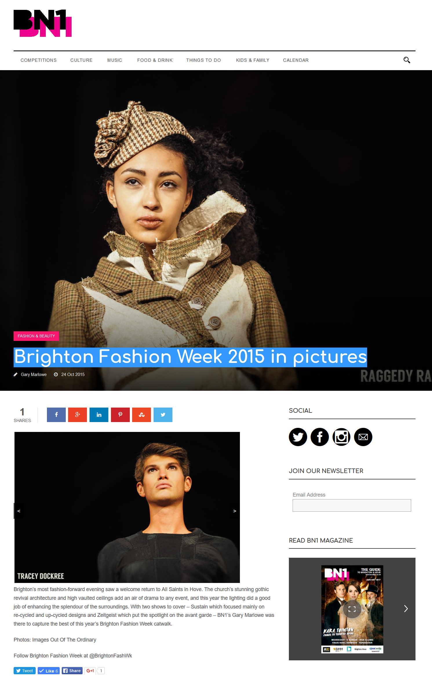 Screenshot of BN1 magazine article about Brighton Fashion Week