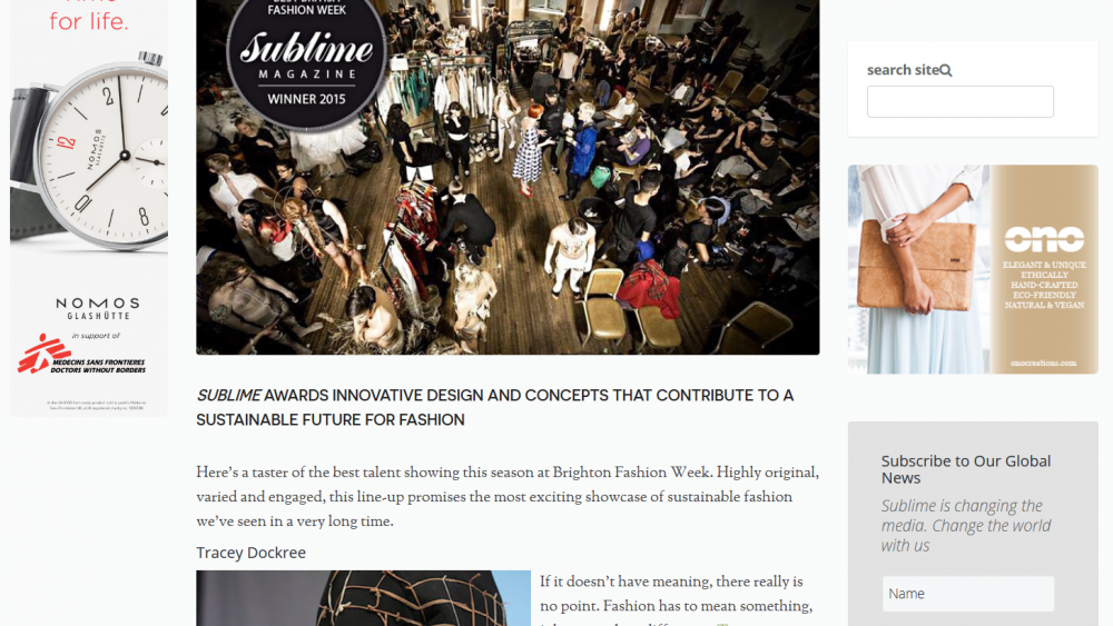 Screenshot of the Sublime magazine article on Brighton Fashion Week